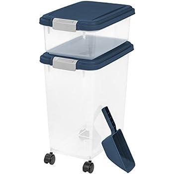IRIS USA, Inc. 3 Piece Airtight Pet Food Storage Container Combo, Navy Blue