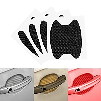 Emoly 12Pcs Universal 3D Carbon Fiber Car Door Handle Paint Scratch Protector Sticker Auto Door Handle Scratch Cover Guard Protective Film (Black): Electronics