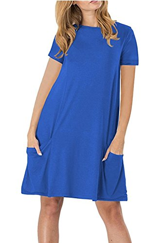 WIWIQS Women's Casual Short Sleeve Pockets T-Shirt Loose Midi Dress,Blue XL (Singer Dress Form Small)
