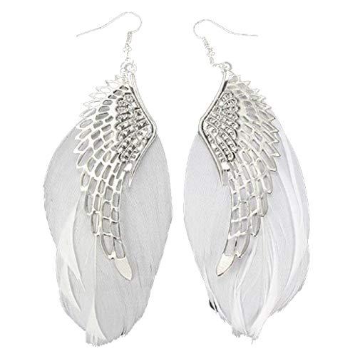 Women Vintage Bohemian Angel Wing Feather Handmade Long Drop Earrings Lightweight Teardrop Dangle Earrings (White)