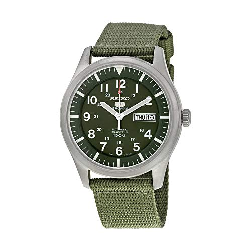 (Seiko 5 Men's SNZG09K1 Sport Analog Automatic Khaki Green Canvas Watch)