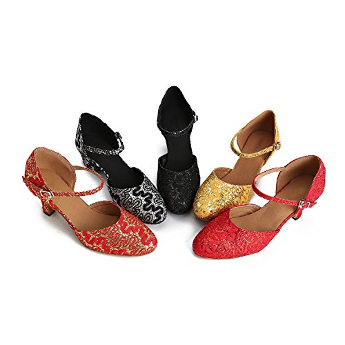Wedding UK Latin Pumps Satin Ballroom Round Strap Toe MINITOO Ladies TH160 Taogo Dance Single Shoes Red 6 Fvaw8q40