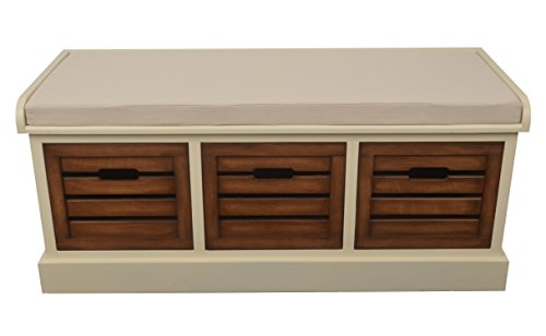 y Three Drawer Bench with Cushion, White Honeynut ()