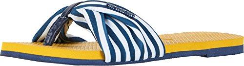 Havaianas Women's You Saint Tropez Flip Flops, Mustard, Blue, Stripe, 37/38 M EU (Tropez Stripe)