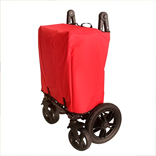 RED PUSH HANDLE AND REAR FOOT BRAKE FOLDING STROLLER WAGON OUTDOOR SPORT COLLAPSIBLE BABY TROLLEY W/ CANOPY GARDEN UTILITY SHOPPING TRAVEL CART - EASY SETUP NO TOOL NECESSARY by WagonBuddy by WagonBuddy (Image #3)