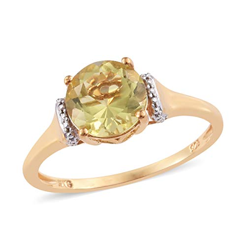 14K Yellow Gold Plated 925 Sterling Silver Solitaire Ring Round Lemon Quartz Gift Jewelry for Women Size 5 Cttw 1.9