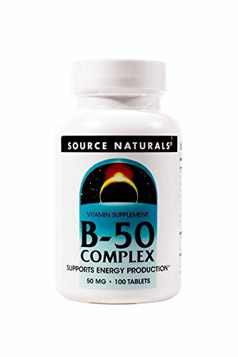 Source Naturals Vitamin B-50 Complex 50mg Supplement - Contains Essential B Vitamins, Biotin, Inositol & More - 100 Tablets