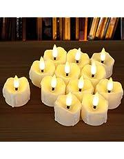 12pcs Flameless Tea Lights, PChero Unscented LED Timed Tealight Battery Operated Realistic Votive Candles for Seasonal Festival Celebration Fall Decor