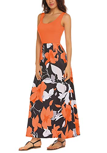 Maxi Women's Summer Floral Long Orange Boho Print BLUETIME Sleeveless Tank Dress FA6BPUPp