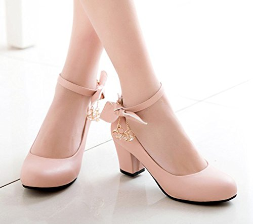 Aisun Womens Fashion Buckled Dressy Round Toe Low Cut Mid Chunky Heel Ankle Strap Pumps Shoes With Bow Pink OvdPn