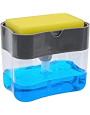 Mumoo Bear 2 in 1 Sponge Rack Shelf Soap Detergent Dispenser Pump, Large Capacity with Sponge, 1 Hand Operation,affordable, gray