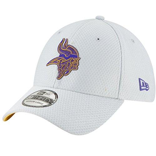New Era Mens Gray Minnesota Vikings 2018 NFL Training Camp Official 39THIRTY Flex Hat (Large/X-Large)