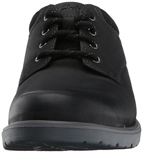 Clarks Mens Vossen Plain Oxford Black Leather