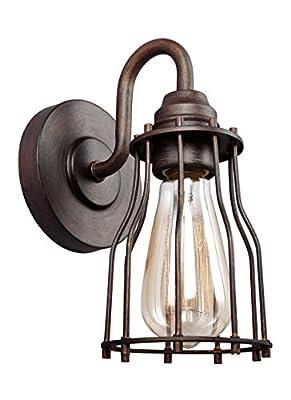 "Feiss VS24001PRZ Calgary Industrial Vintage Wall Sconce Lighting, Bronze, 1-Light (5""W x 9""H) 60watts"