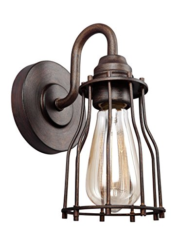 Feiss VS24001PRZ Calgary Industrial Vintage Wall Sconce Lighting, Bronze, 1-Light (5''W x 9''H) 60watts by Feiss