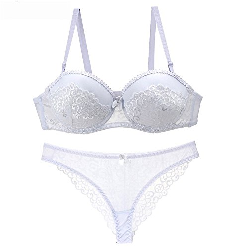 Quoxiao Women's Sexy Comfort Fine Fabric Sexy Lingerie Push up Embroidery Lace Bra & Panty Set White (Fine Lingerie)