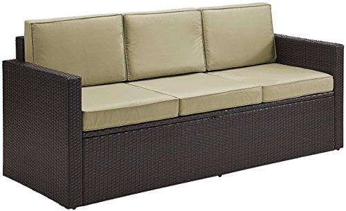Crosley Furniture KO70048BR-SA Palm Harbor Outdoor Wicker Sofa with Sand Cushions, Brown