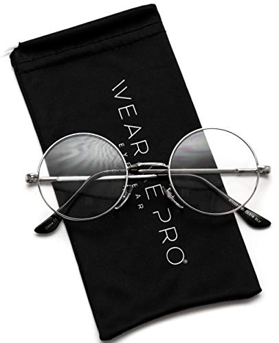(Round Clear Metal Frame Glasses (Silver Frame, 47))