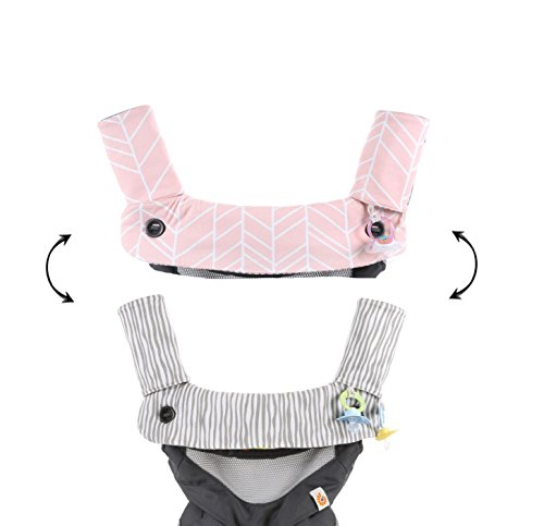 Pink Reversible Carrier - Premium Drool and Teething Reversible Cotton Pad | Fits Ergobaby Four Position 360 + Most Baby Carrier | Pink Herringbone Design | Hypoallergenic | Great Baby Girl Shower Gift by Mila Millie