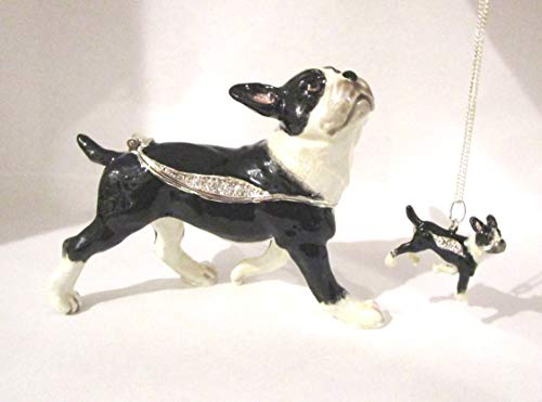 Kingspoint Boston Terrier Dog Jeweled Trinket Box w Matching Pendant - Figurine Boston Terrier Dog
