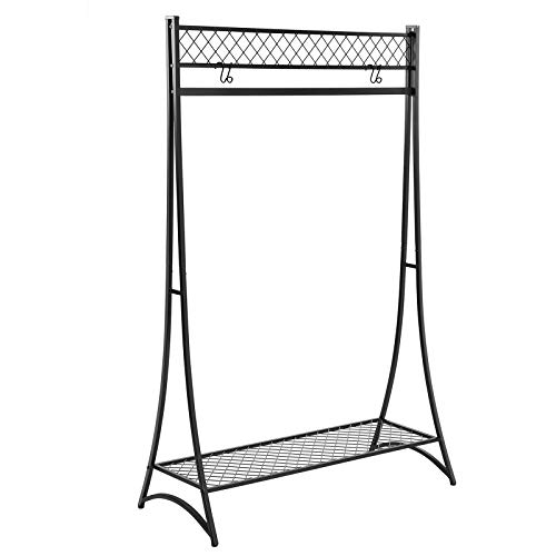 SONGMICS Clothes Garment Rack, Holds 110 lb, Elegant Tower Design, Grid Mesh Bottom Shelf, Clothing Rack for Bedroom Entryway, 37 x 15.9 x 64.6 Inches, Matte Black UHSR24BK