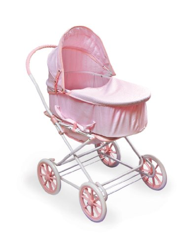 Badger Basket 3-in-1 Doll Pram, Carrier, and Stroller (fits American Girl dolls), Pink Gingham (Doll Pram 1)