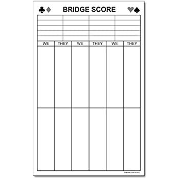 AmazonCom  Chicago Bridge Score Pad  X  Sheets  Memo