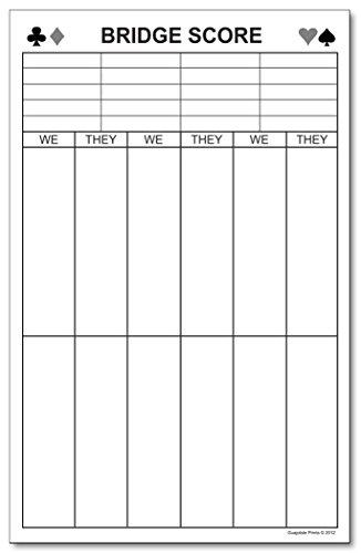(LARGE Bridge Score Notepad, Quantity: One Pad. 5.5