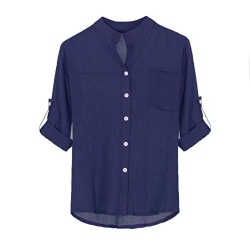Classic Linen Blouse - FEITONG Women Cotton Linen Long Sleeve Shirt Casual Loose Blouse Button Down Tops(XX-Large,Blue)