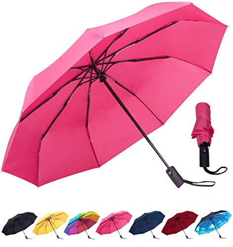 - Rain-Mate Compact Travel Umbrella - Windproof, Reinforced Canopy, Ergonomic Handle, Auto Open/Close (Pink)