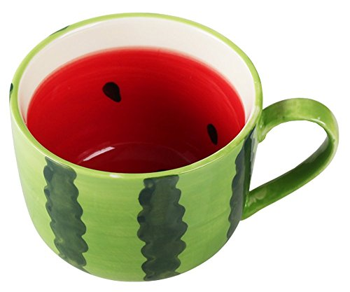 Ceramics Fruit Shape Large Capacity Coffe Mug Teacup Oatmeal Cup - Watermelon / Lemon