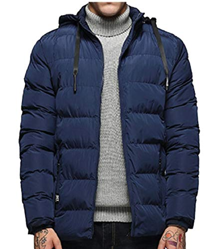 Coat Winter Cotton Puffer security Down Men Warm Quilted Blue Jacket Padded Hooded wqwrvC6Etx