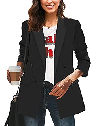 LookbookStore Women's Casual Check Plaid Loose Buttons Work Office Blazer Suit - Black - Small