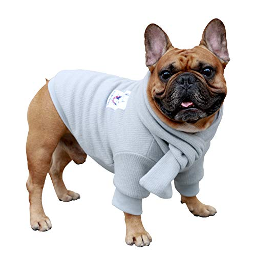iChoue Pet Dog Knitted Sweater with Matching Scarf Knitwear Winter Warm Clothes Cold Weather Coat for French Bulldog Pug Boston Terrier Corduroy-Grey/L