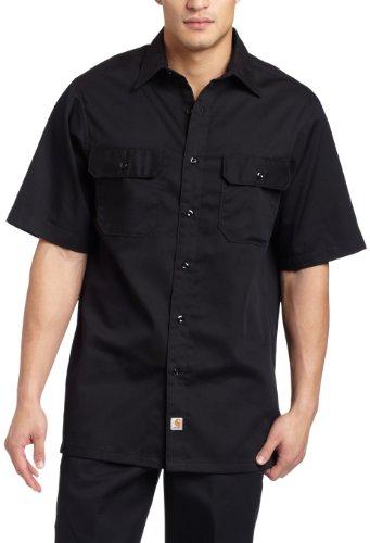 Sleeve Shirt Short Twill Mens (Carhartt Men's Big & Tall Twill Short Sleeve Work Shirt Button Front,Black,XX-Large Tall)
