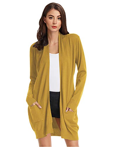 Womens Open Front Sweaters Long Sleeve Chunky Warm Knitted Cardigans Mustard S