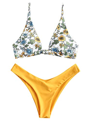 ZAFUL Women's Floral Triangle Bikini Set High Leg Mix Plunging Neck 2 Piece Bathing Suit Swimwear(Yellow-S)