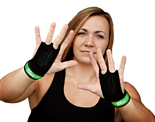 Bear KompleX 2 Hole Leather Hand Grips for Gymnastics & Crossfit, Pull-ups, Weight Lifting. WODs w, Wrist Straps. Comfort & Support- Hand Protection from Rips & Blisters. Reduce Slipping & Strong Grip