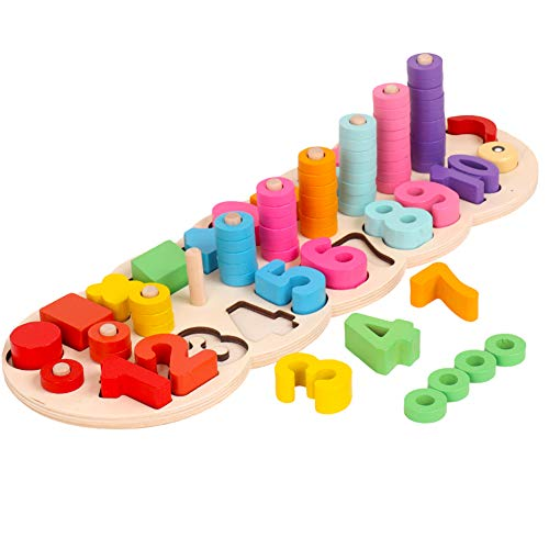 Wooden Shape Sorter Educational Toys - Caterpillar Montessori Learning & Educartion Early Development Number Counting Colors Stacking Sorting Blocks Geometirc Perception Grab Board For Preschool Toddl
