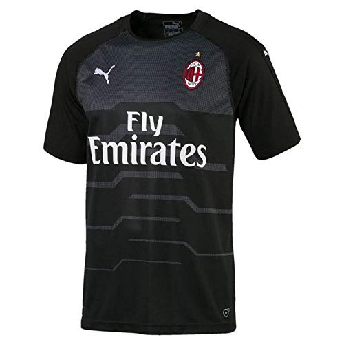 PUMA 2018-2019 AC Milan Away SS Goalkeeper Football Soccer T-Shirt Jersey (Black)