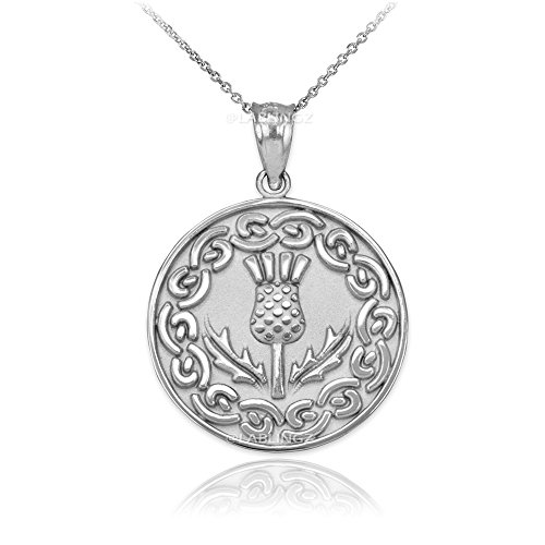 Sterling Silver Scottish Thistle Flower Medallion Pendant Necklace (18) - Flower Medallion Pendant