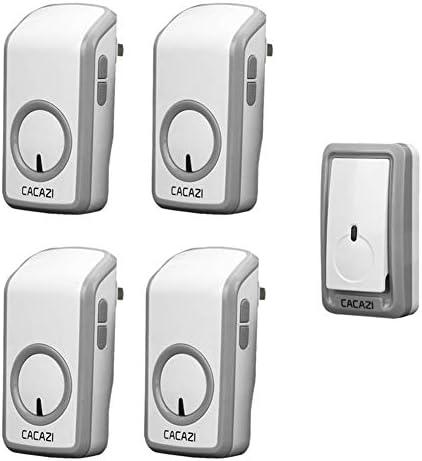 ウォールプラグインコードレスドアチャイム、ポータブルウォータープルーフ電気ドアベルキット、1148フィートの範囲で48トーン6ボリュームレベル1プッシュボタンと4レシーバー