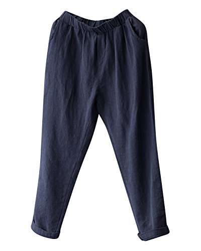 BBYES Womens Cotton Linen Summer Lightweight Loose Fit Elastic Waist Harm Pants with Pocket Navy M -