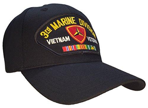 3rd Marine Division Vietnam Veteran Hat Black Ball - Marine 3rd