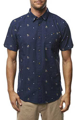 (O'Neill Men's Modern Fit Short Sleeve Button Down Shirt (Navy/Freequency, L))