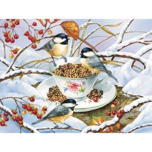 Cobblehill Puzzles Xl 275 Pc Chickadee Tea