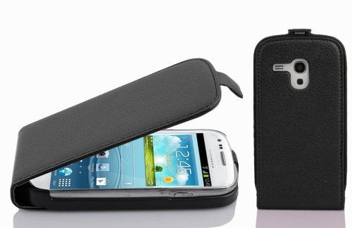 Cadorabo Case Works with Samsung Galaxy S3 Mini in Oxide Black – Flip Style Case Made of Structured Faux Leather – Wallet Etui Cover Pouch PU Leather Flip -