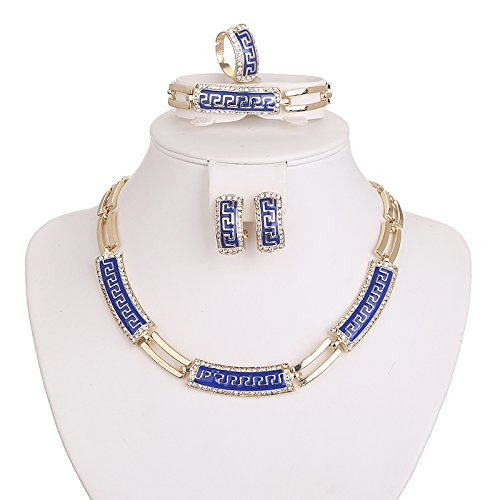 5PC Gold Plated Africa Style Blue Jewelry Sets Necklace Earrings Bracelet Ring for Wedding Party Dance Show Gift Costume