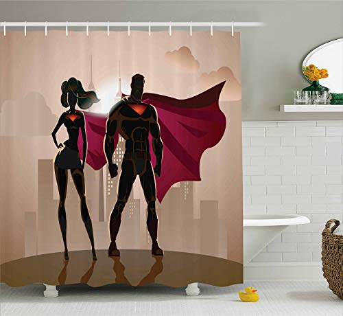 Ambesonne Superhero Shower Curtain, Super Woman and Man Heroes in City Hot Couple in Costume Pattern, Cloth Fabric Bathroom Decor Set with Hooks, 70 Inches, Beige Brown -