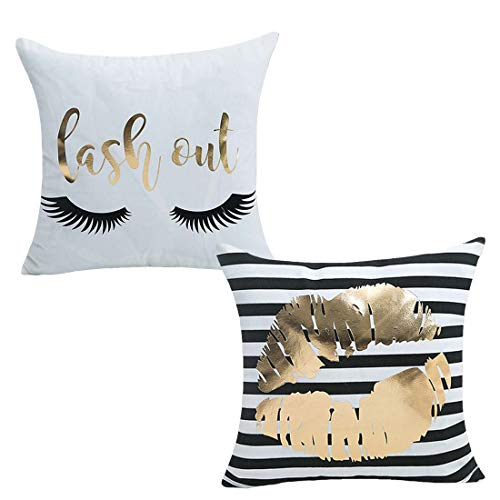 Pillowcase Gold Striped (Bronzing Flannelette Home Pillowcase 18x18 Decorative Cushion Cover Eyelashes Letters Lash Out & Black Striped Gold Lips Throw Pillow Covesr Set of 2)